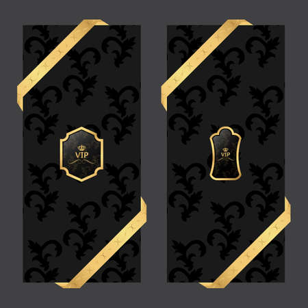 glamour luxury: Set of two vertical banners on a dark background with ribbons and VIP square and oval logo. Vector Illustration