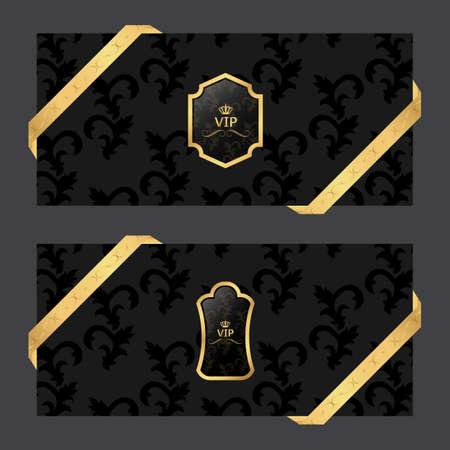 Conjunto de dos banderas horizontales sobre un fondo oscuro con cintas y cuadrada VIP y logotipo ovalado. Vector
