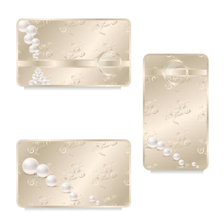 seamy: Business card face and seamy side, beige with ornaments, pearl. Vector