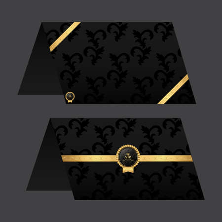 assign: Paper Card menu. Black with golden color. Ornament and tag.