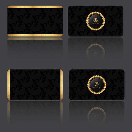 Conjunto de cuatro tarjeta VIP en la vendimia rancio, con dos inferiores y dos bandas laterales con la etiqueta. Ilustración de vector