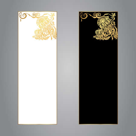 glamour luxury: Set of two vertical banners of black and white color on a gray background with a gold ornament. Vector
