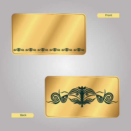 seamy: Business card, face and seamy side, gold with green ornament. Vector Illustration