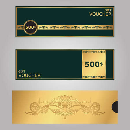 Template Gift Certificate Vip Green And Gold With Ornamentomktor