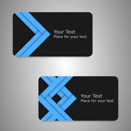 dark gray: Dark gray card with big blue arrows. Vector