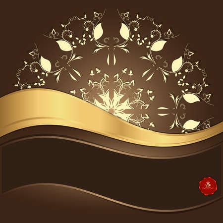 gold ornament: Yellow circular ornament with a gold strip on a brown background. Vector Illustration