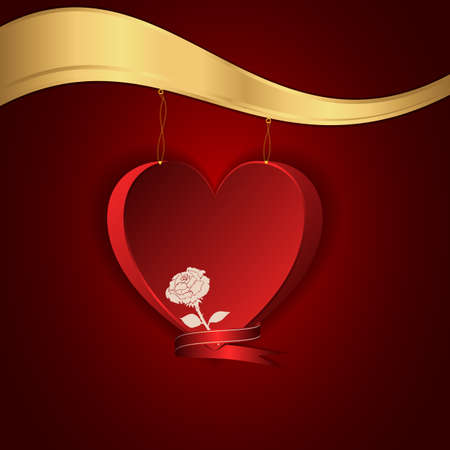 hung: Red heart hung on a gold chain to the gold shelf. Vector