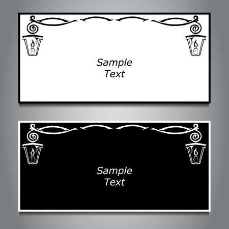 hanging lamp: Two horizontal banner, black and white, hanging lamp. Vector Illustration