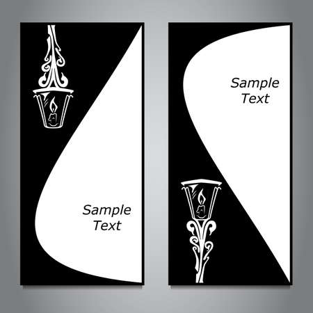 hanging lamp: Two vertical banner, black and white, hanging lamp. Vector