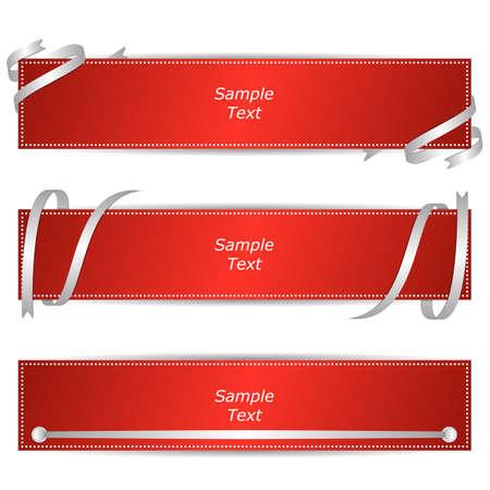 Conjunto de tres banderas horizontales con cintas rojas. Vector