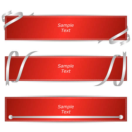 Set of three horizontal banners with red ribbons. Vector