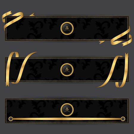 rectangular: Set of three horizontal banners in dark gray with gold ribbons. Vector