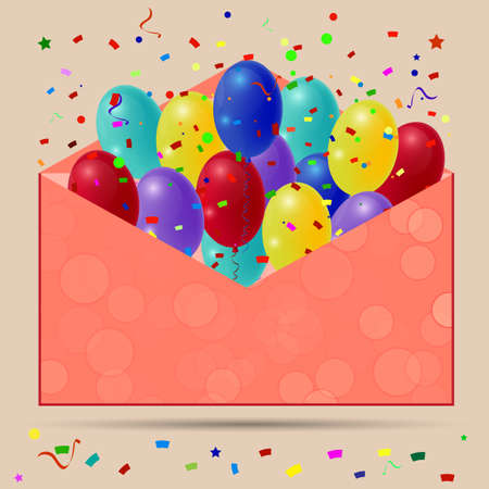red balloons: Holiday balloons with red envelope on orange background. Vector Illustration