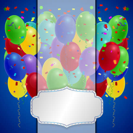 red balloons: Holiday balloons with red ribbon on orange background. Vector