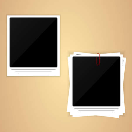 yellow photo: Retro photo frame on a yellow background. vector Illustration
