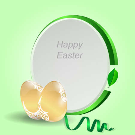 gold eggs: Two gold Easter eggs with a green tag on a light green background with ribbon. Vector