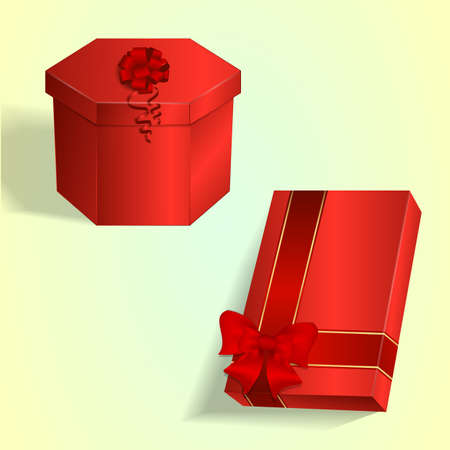 ribbons and bows: Set of two gift boxes, hexagonal and rectangular, with a red bows and ribbons. Vector Illustration