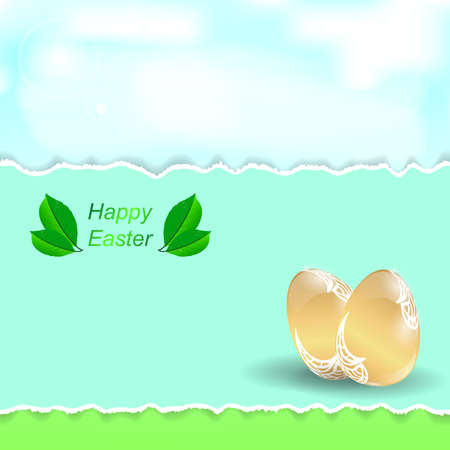 torn edges: Two Easter golden eggs. A banner with torn edges on the background of greenery and sky. Vector. Illustration