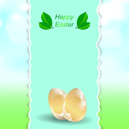 golden eggs: Two Easter golden eggs. Vertical banner with torn edges on the background of greenery and sky. Vector. Illustration