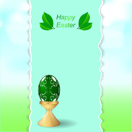 torn edges: Easter green egg on a stand. Vertical banner with torn edges on the background of greenery and sky. Vector.