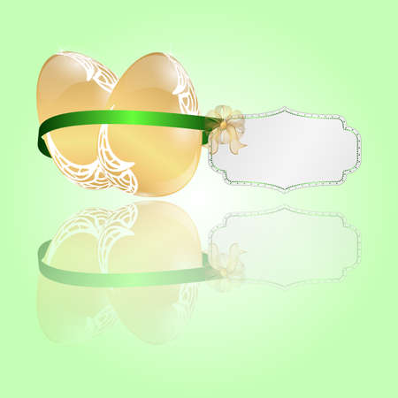 golden eggs: Two Easter golden eggs tied a green ribbon with a tag on a light green background. Vector.