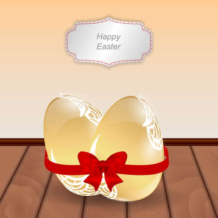 golden eggs: Two Easter golden eggs tied a red ribbon with a red bow. Wooden floors and tag hanging on stene.Vektor. Illustration