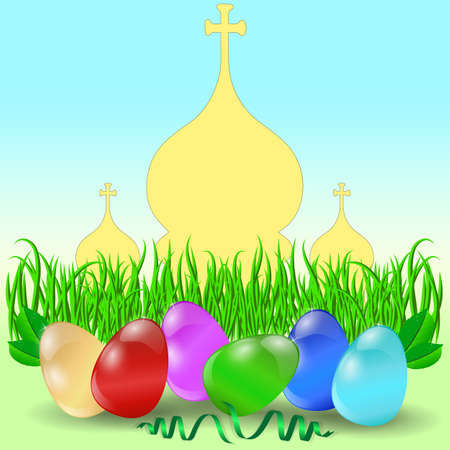 domes: Easter eggs with grass and church domes. Vector.