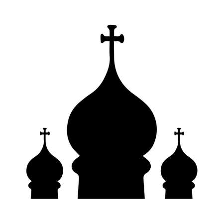 church worship: Silhouette of three domes of the Orthodox Church. On a white background. Vector Illustration