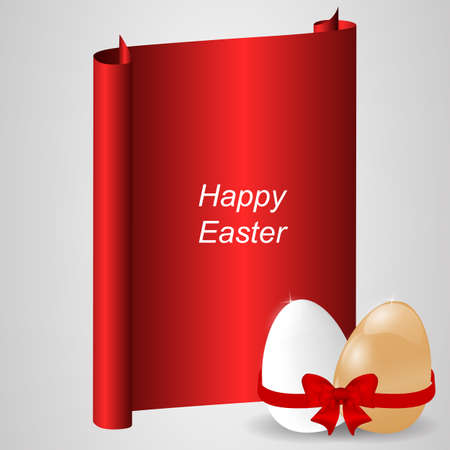 egg roll: Red banner with two natural easter eggs, red ribbon and bow. Vector Illustration