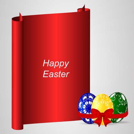 spring roll: Red banner with two decorative Easter eggs, ribbon and red bow. Vector