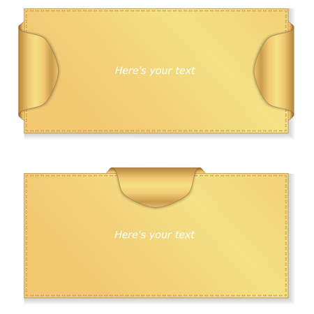 joining services: Two gold horizontal banner with gold labels and thread stitching. Vector