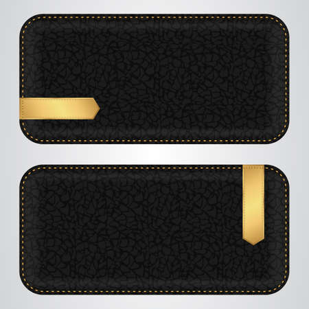 acute: Two black leather horizontal banner with gold VIP acute label. Vector