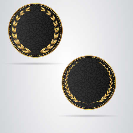 leather stitch: Two black round leather VIP tag with gold laurel wreath. Vector Illustration