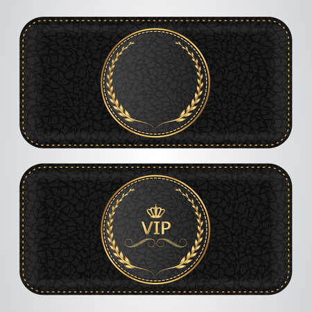 card board: Two black leather VIP horizontal banner with a gold label. Vector Illustration