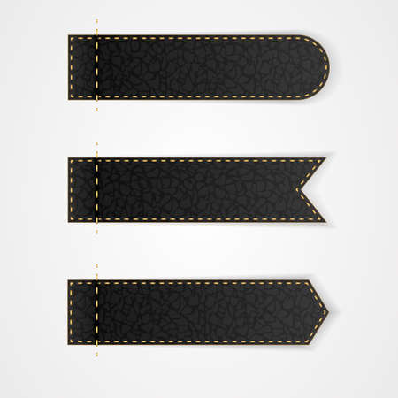 black leather: Three black leather VIP label with gold thread. Vector Illustration