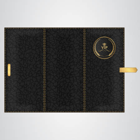 binding: Black leather VIP binding folded three times with gold thread and a round tag. Vector Illustration