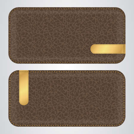 brown leather: Two brown leather horizontal banner with gold VIP rounded label. Vector
