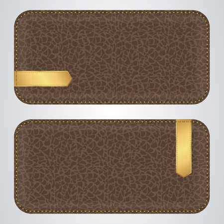 acute: Two brown leather horizontal banner with gold VIP acute label. Vector