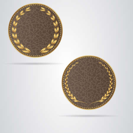 leather stitch: Two brown round leather VIP tag with gold laurel wreath. Vector