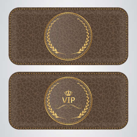 leather stitch: Two brown leather VIP horizontal banner with a gold label. Vector