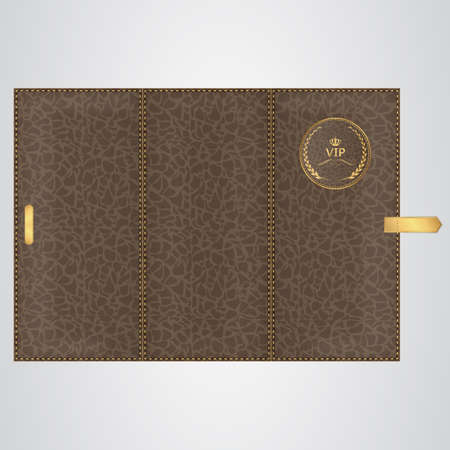 binding: Brown leather VIP binding folded three times with gold thread and a round tag. Vector Illustration