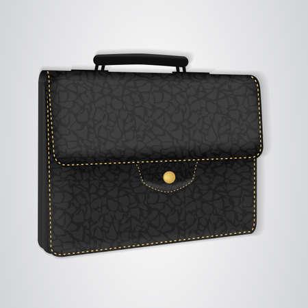 portmanteau: Black leather briefcase on the button. Vector