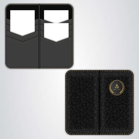 black leather: Black VIP card holder for business cards, card holder in black leather, the view from both sides. Vector Illustration