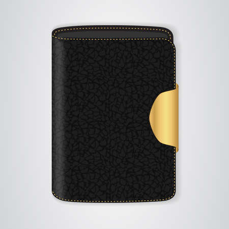 clasp: VIP Black purse with a gold clasp. Vector