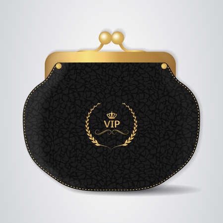 clasp: VIP Black leather purse with gold clasp. Vector