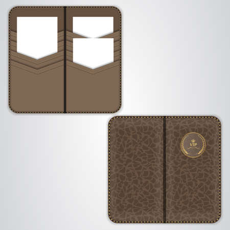 card holder: Brown VIP card holder for business cards, card holder in black leather, the view from both sides. Vector