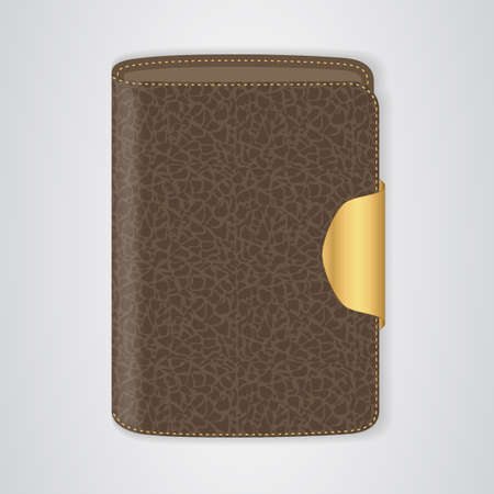 clasp: VIP Brown purse with a gold clasp. Vector