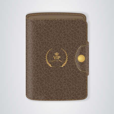 billfold: VIP Brown wallet with buckle. Vector