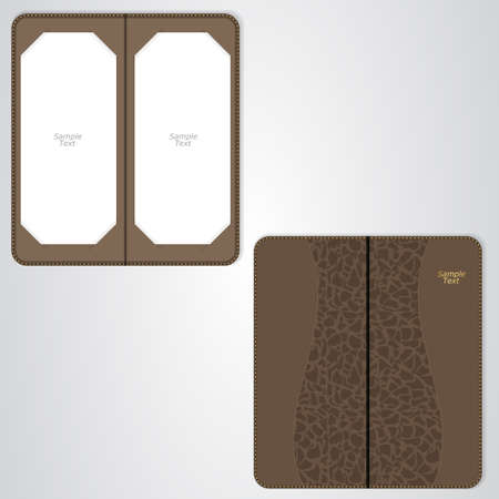 brown leather: Brown leather folder for the VIP restaurant, coffee sided. Vector Illustration