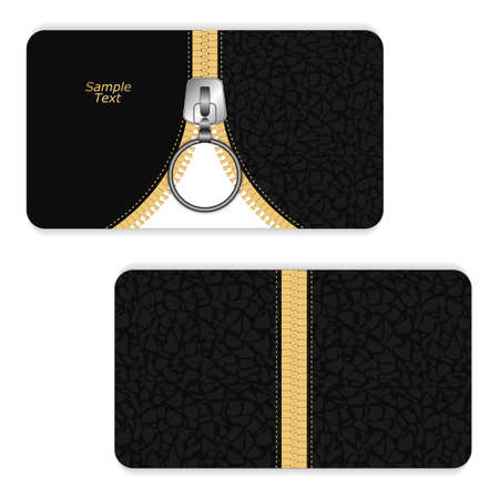 closing: Leather business card dark gray with a yellow zipper and zipper closing down. Vector